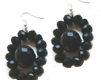 Black nested Beaded Earrings, Black Statement Earrings