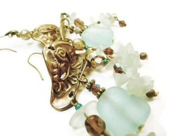 Boucles d'oreilles bronze verre dépoli bleu-vert