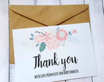 Boho Chic Floral Thank you Cards x 20   Personalised Thank you Cards