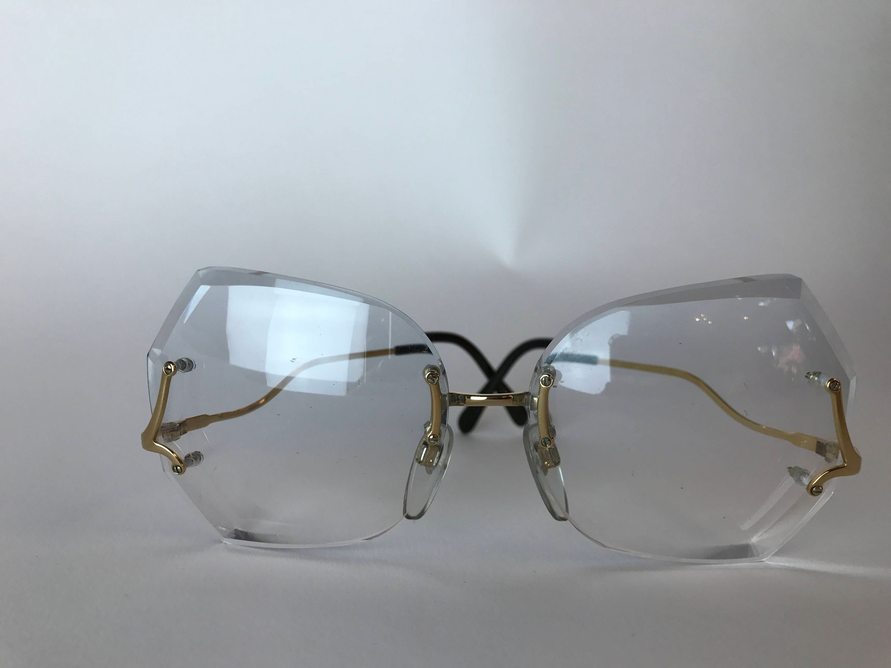 Vintage 1960s Luxottica Eye Glasses Carved glass with Gold Frame ...