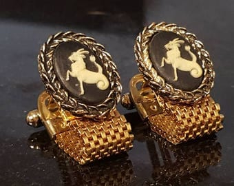 Hippocampus or Hippocamp vintage incolay mesh wrap around over the cuff vintage cufflinks P5-1