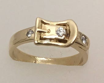 Vintage 14kt gold belt buckle diamond ring