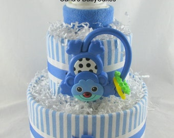 Boy diaper cake   Monkey diaper cake   Baby diaper cake   Baby shower gift   Baby shower decoration   Mom to be gift   New baby gift