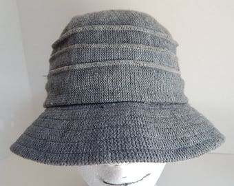 Gray Knit Womens Cloche Bucket Sun Hat Thick Lined Winter