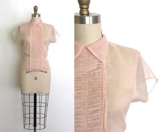vintage 1940s top | 40s sheer soft pink blouse