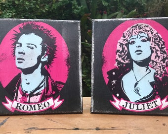 Sid Vicious / Nancy Spungen / Sid and Nancy / Romeo and Juliet / Art / Junkyard BeautyShop / 8X8 / Small Art / Punk / low brow (set of 2)