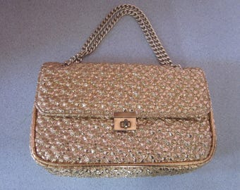 "1960s Metallic Gold Embossed Leather Handbag by ""MM"""