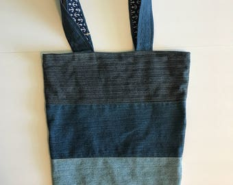 "Denim bag, 15,5"" opening, 10""3/4 bottom and 17""3/4"