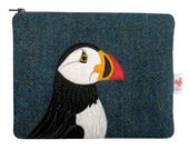 Puffin zip pouch - puffin purse - Harris Tweed purse - blue purse - zip purse - cosmetic pouch - tweed bag - puffin bag - Scottish gift