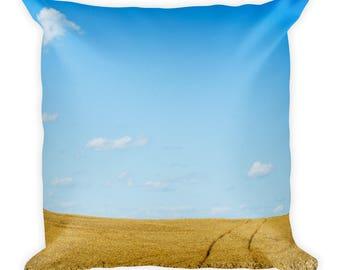 Square Pillow - Red Silo Original Art - Wheat Tracks