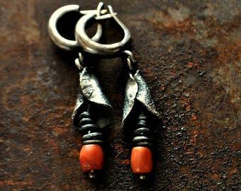 Сoral Earrings .Raw sterling silver earrings .Drop earrings