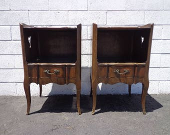 Pair of Nightstands Storage Wood Chests French Provincial Neoclassical Furniture Bedroom Chest Shabby Chic Bedside Tables CUSTOM PAINT AVAIL