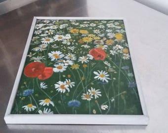 Vintage Oil Painting Spring Flowers Poppies