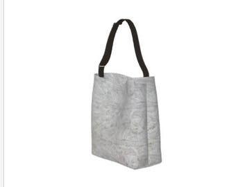 Floral Tote Bag/Tote Bag/Teachers Bag/Gray Beach Tote/Floral Shopping Bag/ Market Tote/Dance Bag/Made to Order