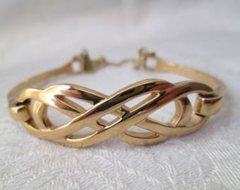 Vintage Monet Gold Clasp Bracelet, Geometric Twisted Braid with Safety Chain