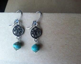 Dangle Round earring with blue green czech dangle charm