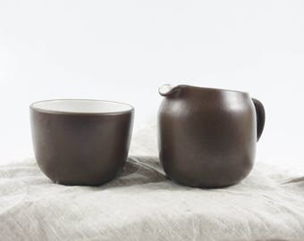 Edith Heath Pottery of California Sugar and Creamer Sandalwood w/ Vellum Finish, Heath Coupe Line, American Modern Design