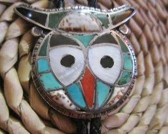 "Zuni Artisan Inlay Gemstone Triple Owl Bolo Tie with Black Leather Cord/Vintage 1960's Rare ""ZUNI"" Native American Indian Jewelry"