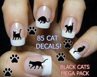 Nail art etsy 85 black cats nail decals bc3 cat nail art tiny cat nail decals prinsesfo Image collections