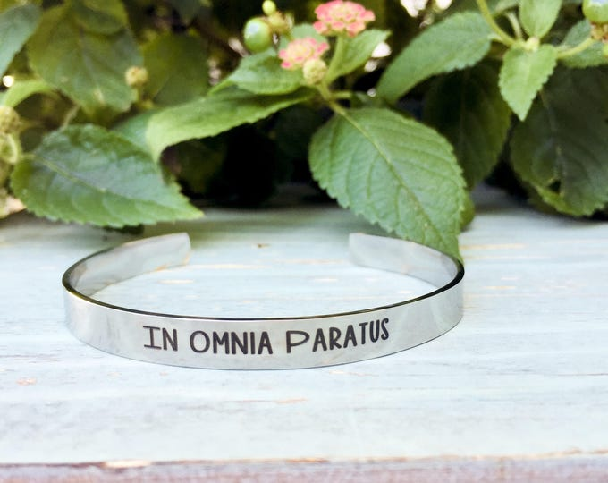 In Omnia Paratus Stainless Steel Cuff Bracelet, ready for anything, gilmore girls, umbrella, jump, unpredictable, impromptu, bracelet