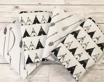 Monochrome Adventure Cot Bar Bumpers - Cot Bedding, Nursery Decor Crib Bumper - Black and White - Monochrome - Tribal - Arrows - Teepee