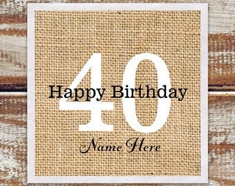Personalized Birthday Cocktail Napkins / Birthday Party Cocktail Napkins / Personalized Napkins / Birthday Napkins Rustic Design