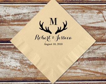 Personalized Napkins Deer Antler Wedding Rustic Cocktail Napkins Gift, Monogram Napkins, Camo Wedding, Letter Napkins, Paper Napkins
