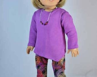 Tunic SWEATER Top Fuchsia Purple with Multicolor LEGGINGS with Necklace and SHOES Option for American Girl or 18 inch Doll