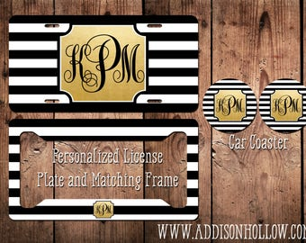 Monogram Car License Plate Tag and Frame - Black White Stripe with Gold Frame - Personalized Vanity Gift for her