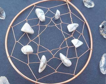 Crystal Healing Dream Catcher Wall Decor, Crystal Decorations, Dreamcatcher Wall Hanging, Small Wire Dream Catchers, Howlite Stone, Crystals