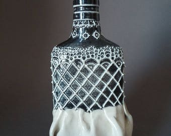 Black and White Lace Flask, Porcelain Flask, Ceramic Flask, Elegant White Bottle
