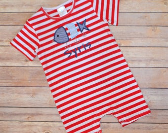 Baby boy summer outfit, boy summer romper, toddler boy summer shirt, fishing lure monogrammed shirt, beach pictures, toddler boy monogram