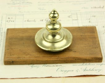 Vintage Paper Weight, retro wooden desk weight with a brass handle, upcycled desk decoration