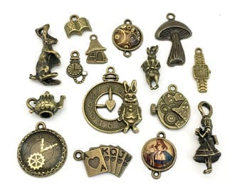 15 Alice in wonderland steampunk charms and glass connectors, collection,11mm to 32mm# ENS B 052