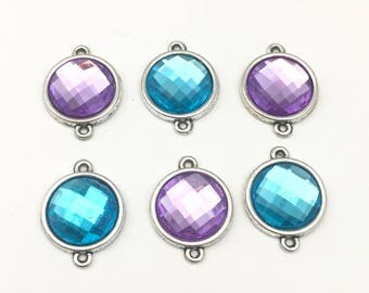 6 connectors  silver tone and resin cabochon 17mm x 22mm #CON 220