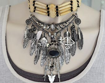 Indian necklace, Statement necklace, Dramatic necklace, Unique necklace, Unusual necklace, Bohemian necklace, Cool necklace, OOAK necklace