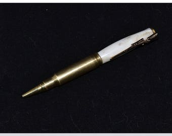 308 Caliber Cartridge and Deer Antler Twist Pen