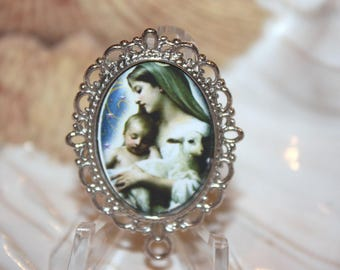 Custom Rosary Center Part/Virgin Mary with Her Lamb/Child Jesus/Color/ Rosary Making/Available in Antique Silver, Bronze or Antique Gold