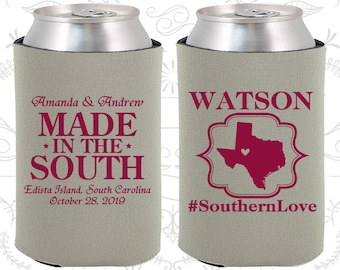Southern Love, Made in the South, Wedding Items, Southern Wedding Favors, Country Wedding Favors, Rustic Wedding Favors, Can Coolers (599)