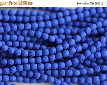 10% OFF 50 Neon Blue, 3mm Faceted Round Czech Glass Fire Polished Beads FP-3M-8