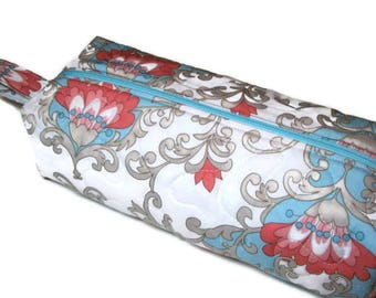 Boxy Zippered Pouch, Quilted Project Bag, Cosmetics Bag, Pencil Case, Pink Blue Grey Floral Scroll, Quiltsy Handmade