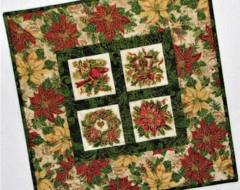 "Christmas Quilted Table Topper, Holiday Quilted Table Mat, Ornate Red Green and Gold Table Topper, 18""x18"", Quiltsy Handmade"