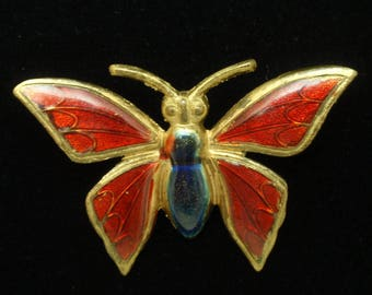 Red Enamel Butterfly Pin Vintage
