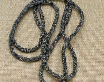 """54"""" Beaded Necklace Gun Metal Dusty Blue"""