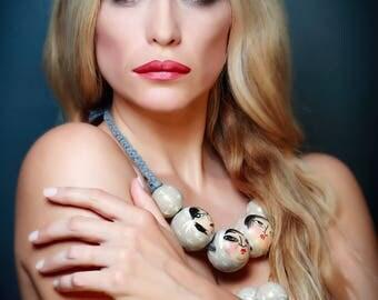 Designer hand made wooden necklace & bracelet set