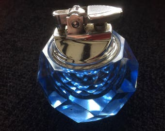 large blue diamond cut crystal glass vintage table lighter