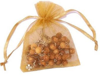 Jerusalem Cross Olive Wood Rosary - With Organza bag