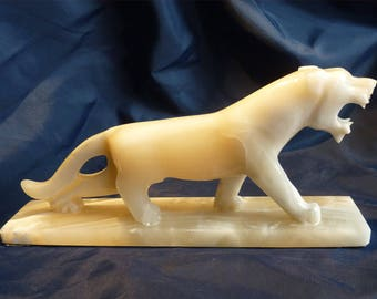 "Large Carved Marble Stone Lion Tiger Panther Figurine Statue 11.75"" Long at Matching Base with Felt Covered Base"