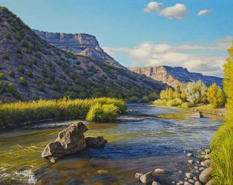 Rio Grande Near Pillar - 8x10 inch Print, Print of Original Oil Painting by Jurgen Wilms, Southwest Landscape Painting, River Archival Print