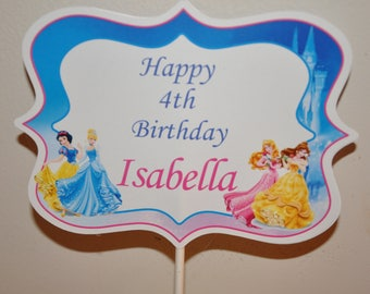 Disney Princess Personalized Name Topper for Centerpieces